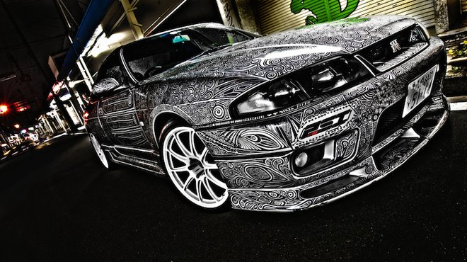 photos la nissan skyline gt r r33 redessin e au crayon sharpie en images automoto tf1. Black Bedroom Furniture Sets. Home Design Ideas